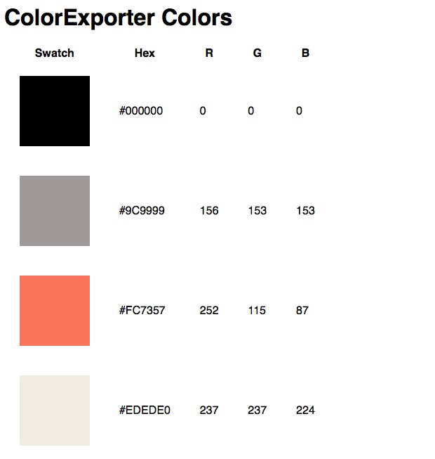 Color Exporter generated HTML